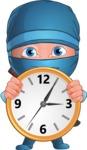 Businessman dressed as Ninja Cartoon Vector Character AKA Hideki - Time is running out
