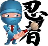 Businessman dressed as Ninja Cartoon Vector Character AKA Hideki - Creativity