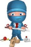 Businessman dressed as Ninja Cartoon Vector Character AKA Hideki - Repair