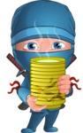 Businessman dressed as Ninja Cartoon Vector Character AKA Hideki - Tea