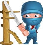 Businessman dressed as Ninja Cartoon Vector Character AKA Hideki - Training
