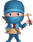 Businessman dressed as Ninja Cartoon Vector Character AKA Hideki - Sushi