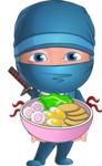 Businessman dressed as Ninja Cartoon Vector Character AKA Hideki - Ramen