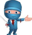 Businessman dressed as Ninja Cartoon Vector Character AKA Hideki - Show 2