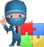 Businessman dressed as Ninja Cartoon Vector Character AKA Hideki - Puzzle