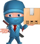 Businessman dressed as Ninja Cartoon Vector Character AKA Hideki - Delivery 1