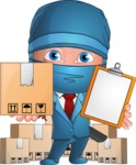 Businessman dressed as Ninja Cartoon Vector Character AKA Hideki - Delivery 2
