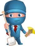 Businessman dressed as Ninja Cartoon Vector Character AKA Hideki - Music