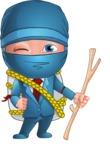 Businessman dressed as Ninja Cartoon Vector Character AKA Hideki - Travel