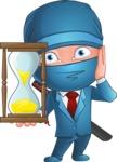 Businessman dressed as Ninja Cartoon Vector Character AKA Hideki - Time is Up