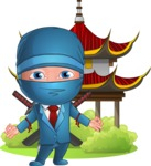 Businessman dressed as Ninja Cartoon Vector Character AKA Hideki - Temple