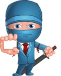Businessman dressed as Ninja Cartoon Vector Character AKA Hideki - Sign 1