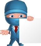 Businessman dressed as Ninja Cartoon Vector Character AKA Hideki - Sign 2