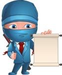 Businessman dressed as Ninja Cartoon Vector Character AKA Hideki - Sign 3