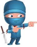 Businessman dressed as Ninja Cartoon Vector Character AKA Hideki - Point 1