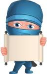 Businessman dressed as Ninja Cartoon Vector Character AKA Hideki - Sign 4