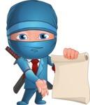 Businessman dressed as Ninja Cartoon Vector Character AKA Hideki - Sign 6