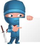 Businessman dressed as Ninja Cartoon Vector Character AKA Hideki - Sign 7