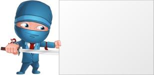 Businessman dressed as Ninja Cartoon Vector Character AKA Hideki - Presentation 1