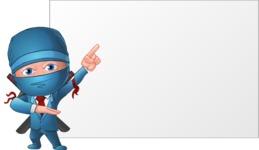 Businessman dressed as Ninja Cartoon Vector Character AKA Hideki - Presentation 2