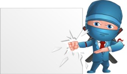Businessman dressed as Ninja Cartoon Vector Character AKA Hideki - Presentation 4