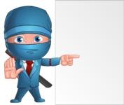 Businessman dressed as Ninja Cartoon Vector Character AKA Hideki - Presentation 5