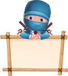 Businessman dressed as Ninja Cartoon Vector Character AKA Hideki - Presentation 6