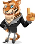 Tiger Businessman Vector Cartoon Character AKA Vice Tiger - Attention