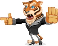 Tiger Businessman Vector Cartoon Character AKA Vice Tiger - Direct Attention