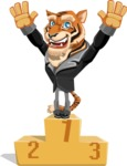 Tiger Businessman Vector Cartoon Character AKA Vice Tiger - On Top