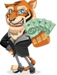 Tiger Businessman Vector Cartoon Character AKA Vice Tiger - Show me the Money