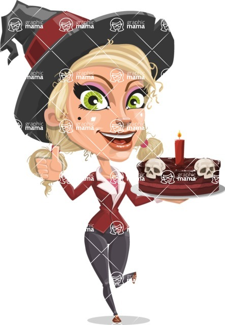 Pretty Blonde Witch Vector Cartoon Character AKA Ophelia the Biz Witch - Holding a Halloween Cake