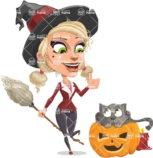 Pretty Blonde Witch Vector Cartoon Character AKA Ophelia the Biz Witch - With Cat