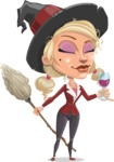 Pretty Blonde Witch Vector Cartoon Character AKA Ophelia the Biz Witch - At Night Drinking Glass of Wine