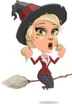 Pretty Blonde Witch Vector Cartoon Character AKA Ophelia the Biz Witch - Being Afraid