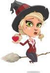 Pretty Blonde Witch Vector Cartoon Character AKA Ophelia the Biz Witch - Being Cute with Love Heart