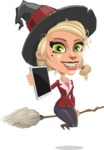 Pretty Blonde Witch Vector Cartoon Character AKA Ophelia the Biz Witch - Being Modern with a Tablet