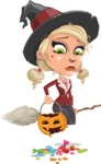 Pretty Blonde Witch Vector Cartoon Character AKA Ophelia the Biz Witch - Being Sad With Broken Pumpkin Lantern