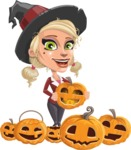 Pretty Blonde Witch Vector Cartoon Character AKA Ophelia the Biz Witch - Celebrating Halloween With Pumpkins