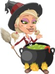 Pretty Blonde Witch Vector Cartoon Character AKA Ophelia the Biz Witch - Cooking in a Caldron