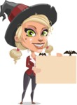 Pretty Blonde Witch Vector Cartoon Character AKA Ophelia the Biz Witch - Holding a Blank Halloween Sign