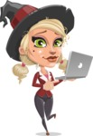 Pretty Blonde Witch Vector Cartoon Character AKA Ophelia the Biz Witch - Holding a Laptop