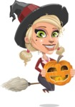 Pretty Blonde Witch Vector Cartoon Character AKA Ophelia the Biz Witch - Holding a Pumpkin Lantern
