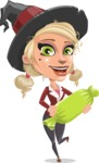 Pretty Blonde Witch Vector Cartoon Character AKA Ophelia the Biz Witch - Holding a Treat