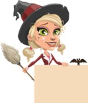 Pretty Blonde Witch Vector Cartoon Character AKA Ophelia the Biz Witch - Holding Blank Presentation Sign and Making a Point