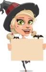 Pretty Blonde Witch Vector Cartoon Character AKA Ophelia the Biz Witch - Holding Blank Presentation Sign for Halloween