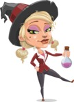 Pretty Blonde Witch Vector Cartoon Character AKA Ophelia the Biz Witch - Holding Potion