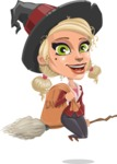 Pretty Blonde Witch Vector Cartoon Character AKA Ophelia the Biz Witch - Holding Sack with Candies