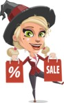 Pretty Blonde Witch Vector Cartoon Character AKA Ophelia the Biz Witch - Holding Shopping Bags