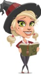 Pretty Blonde Witch Vector Cartoon Character AKA Ophelia the Biz Witch - Making a Curse with a Book